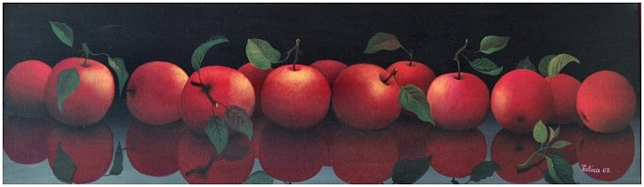 Thirteen red apples
