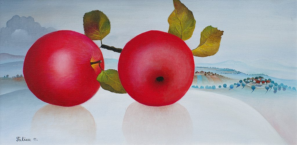 Two big red apples